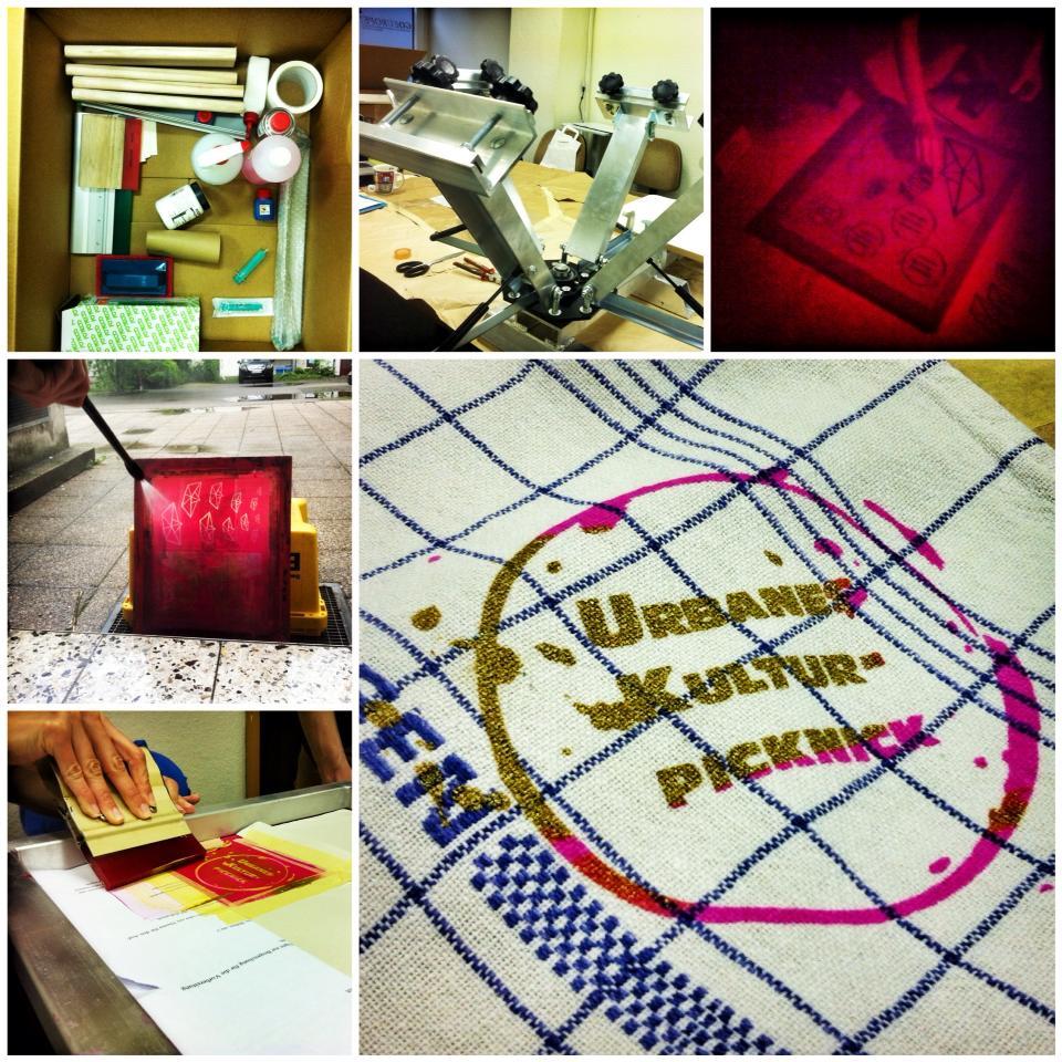 Erste Ergebnise in Pink/Gold & mit Vorfreude aufs »urbane Kulturpicknick« am 21.5. ... & danke an Siebdruckversand!