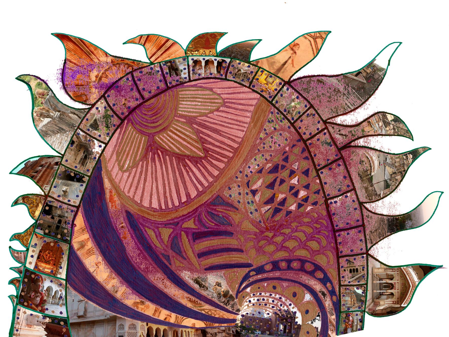 Sonnengot Surya. Galta, Jaipur. Fotocollage, 80x60 C-Print, matt