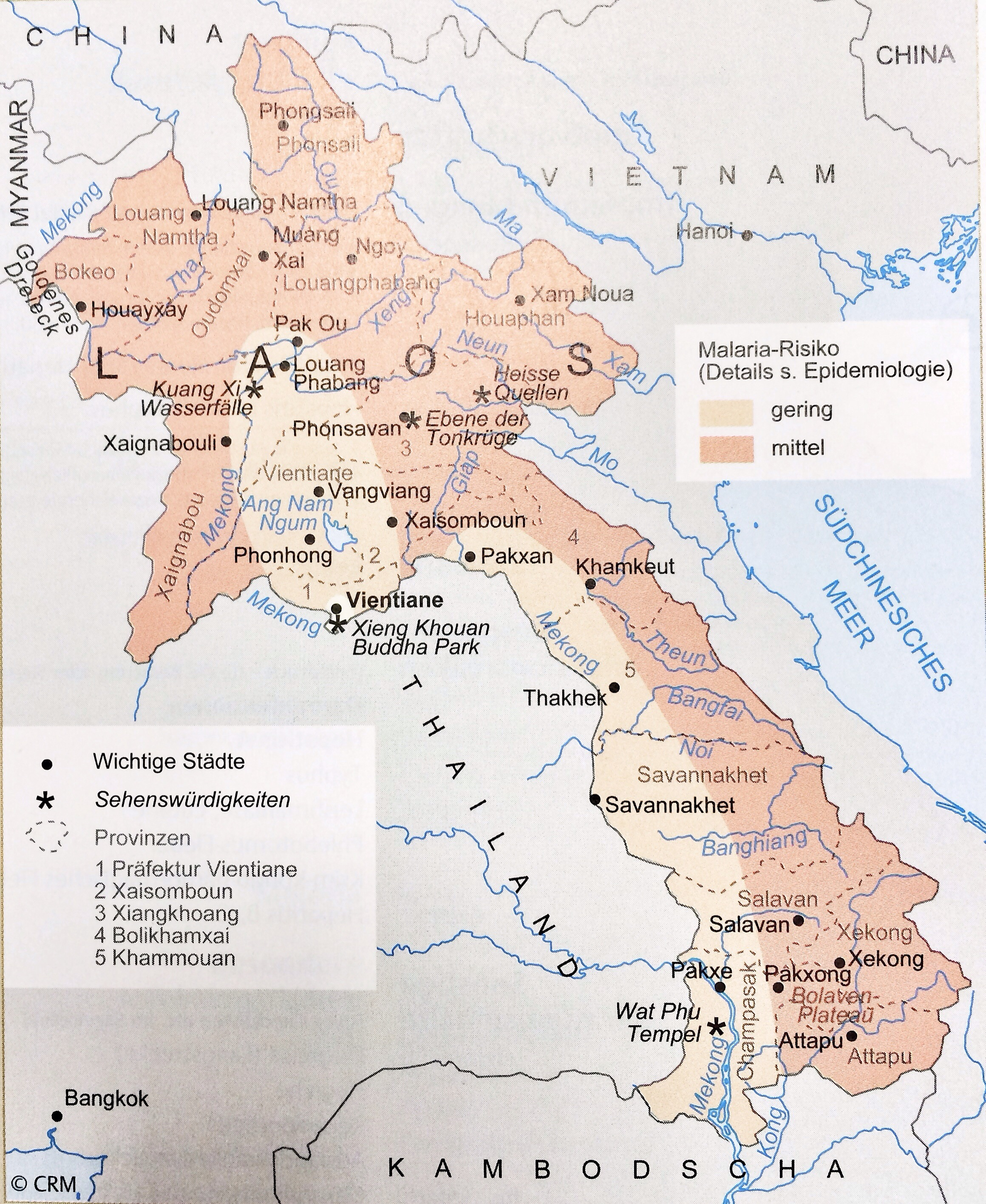 Karte Laos.