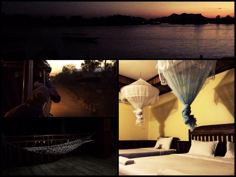 Nächtliche Ankunft auf der Insel Don Khon, Laos.
