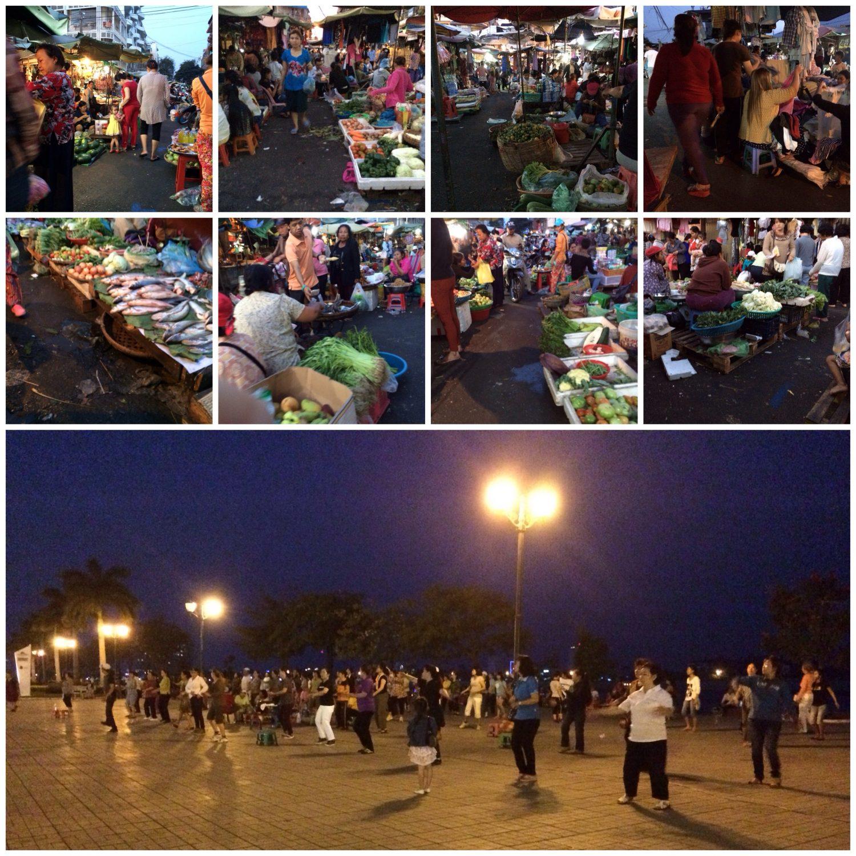 Lebensmittelmarkt und Aerobic am Abend in Phnom Penh.