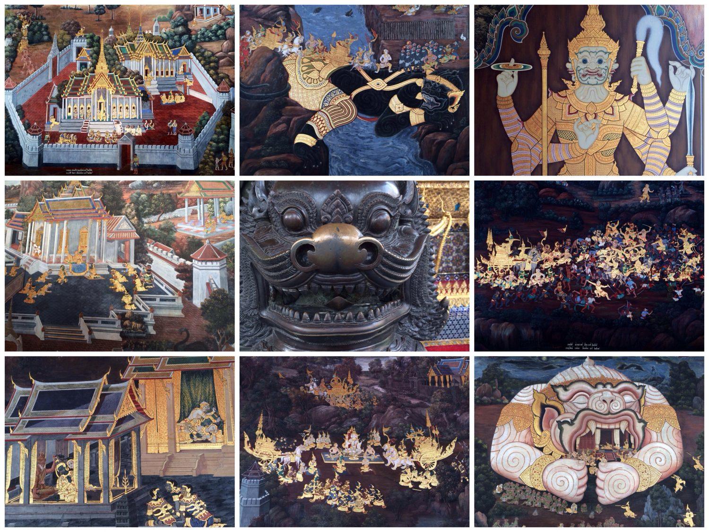 Vergoldete Wandmalereien mit Szenen aus dem Ramakien während der Regentschaft Rama I.