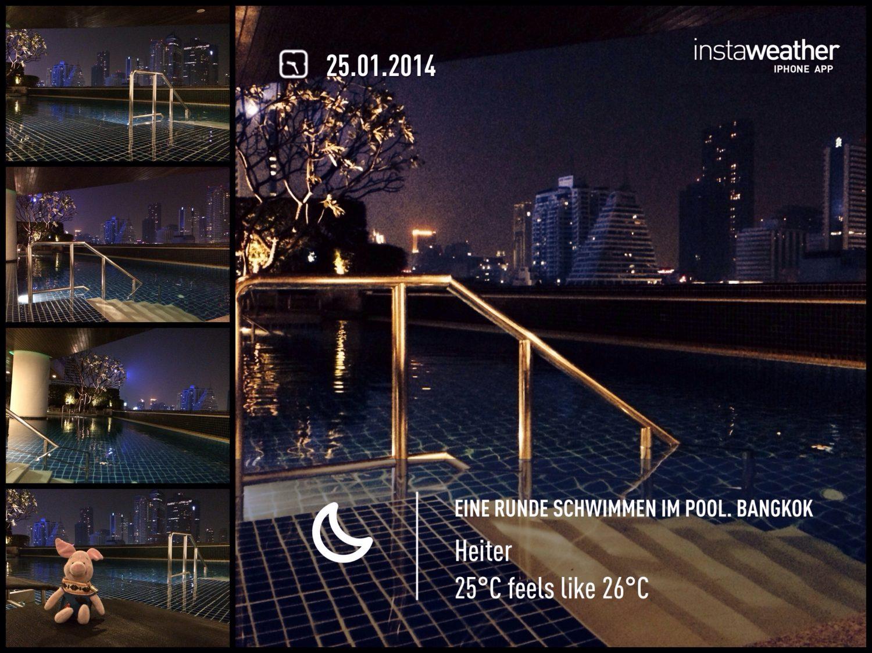 Eine Runde Schwimmen im Pool. Bangkok.