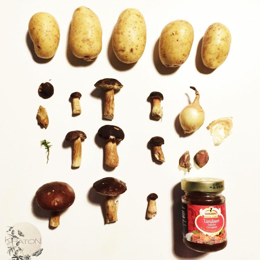 Die Zutaten. Leckeres Pilzgericht.