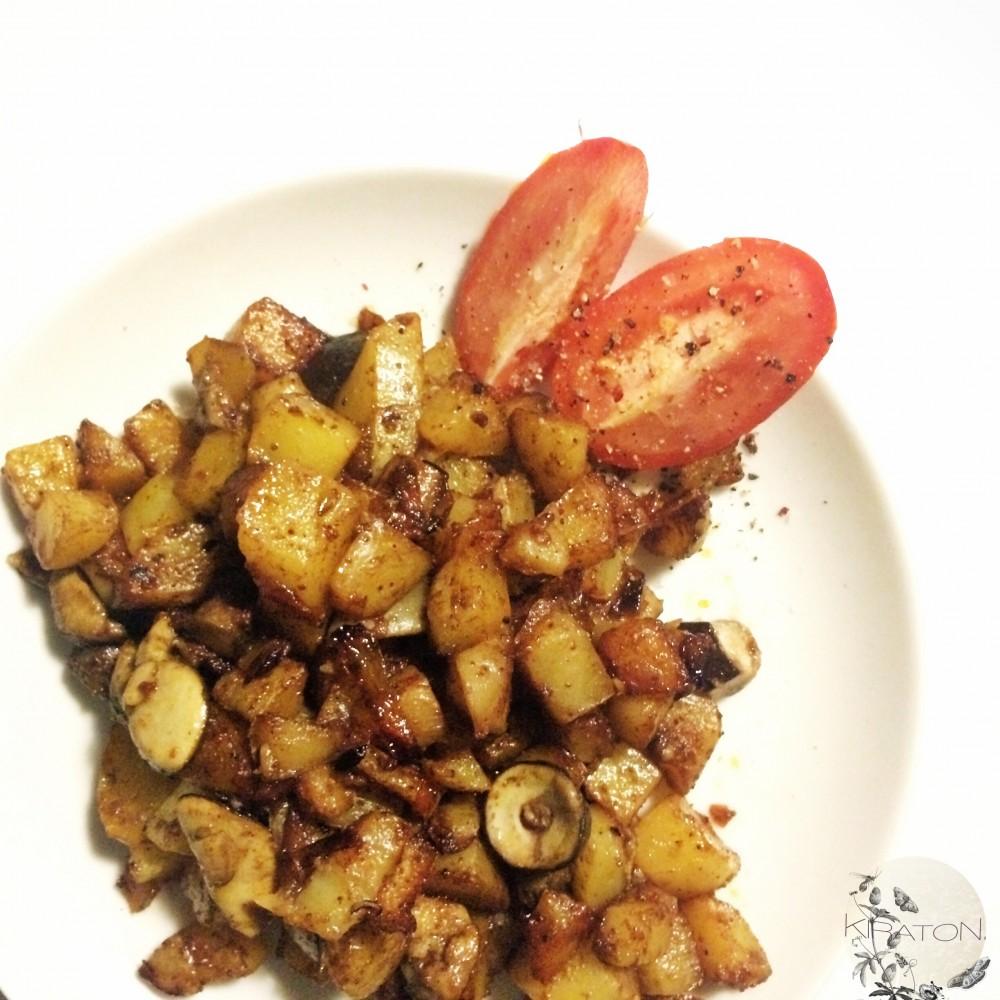 Es ist angerichtet: Kartoffel-Pilz-Pfanne.