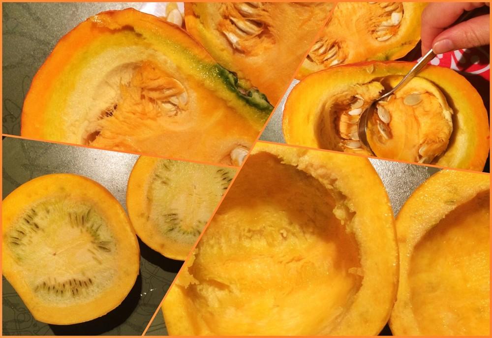 Hokkaido und Zucchini waschen, halbieren, entkernen und anschließend in Scheiben bzw. Schiffchen schneiden.