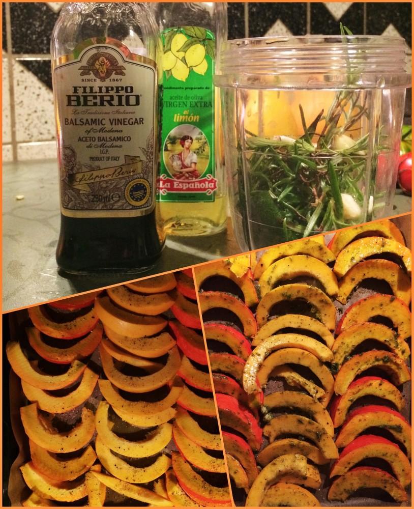 Mariande mixen und anschließend damit die Hokkaido- und Zucchini-Schiffchen bestreichen.
