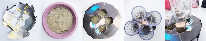 Papier-Zuschnitt für die Reagenzglas-Vase in Beton