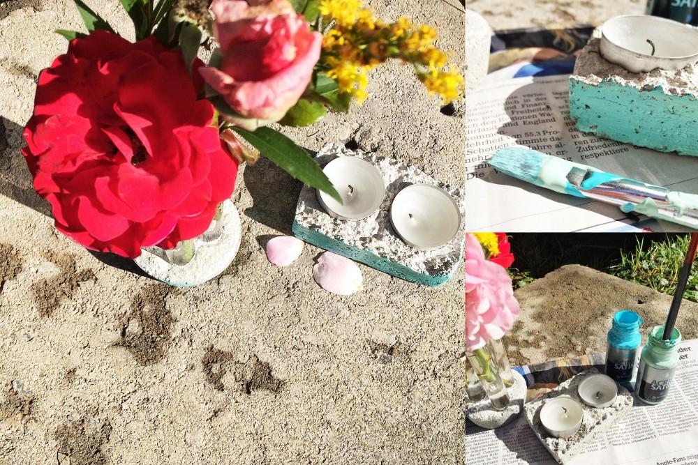 Frischer Anstrich mit Blumen: Reagenzglasvase und Teelichthalter aus Beton.