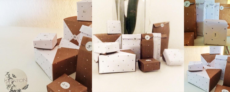 Geschenktütchen und -schachteln für den Adventskalender.