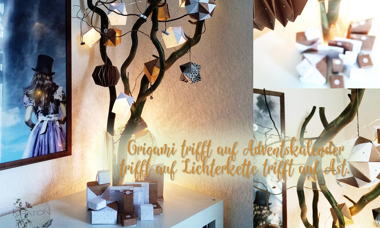 Idee für den Adventskalender: Origami trifft auf Adventskalender trifft auf Lichterkette trifft auf Ast.
