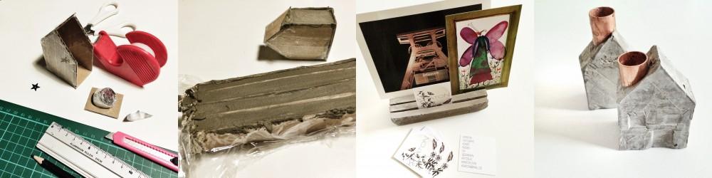Häuschen & Fotohalter aus Zement