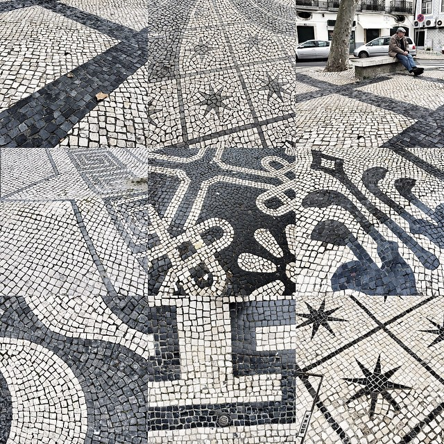 On paving stones in Lisbon.