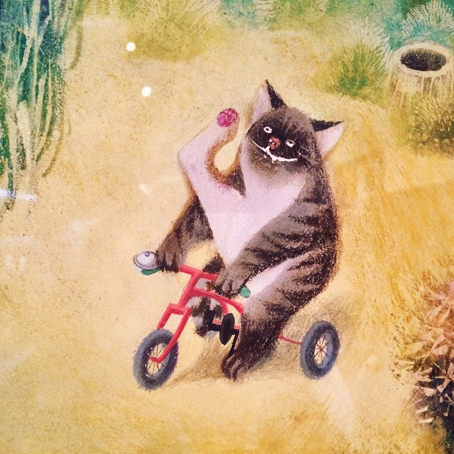 A cat takes a ride. Picture in the Jirího Trnky-exhibition.