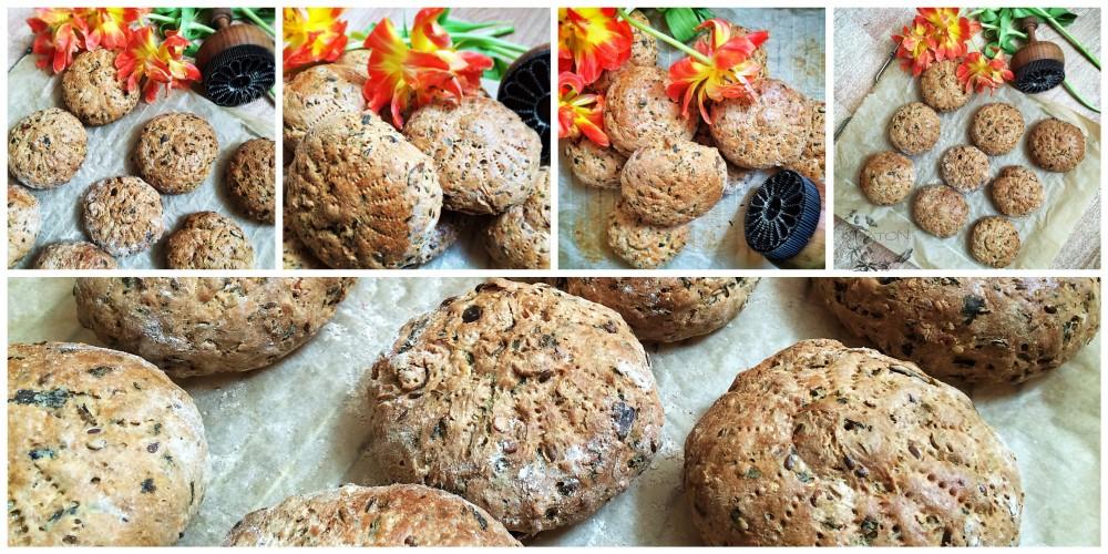 Dinkel-Weizenmehl-Brötchen mit Rucola.