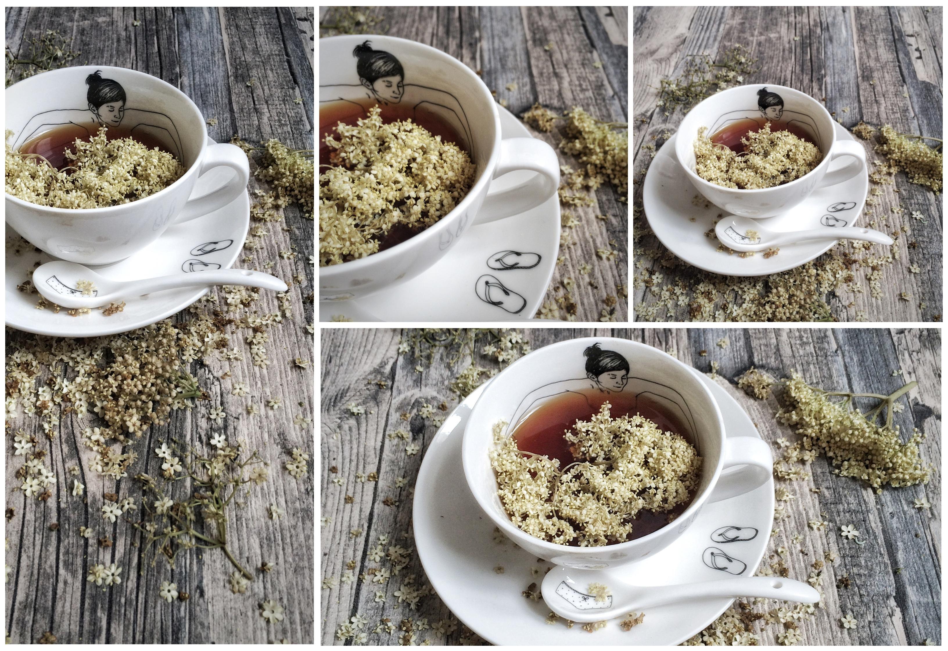 Schwarzer Tee mit Holunderblüten.