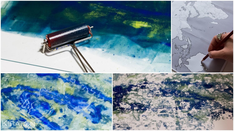 Adventskalender aus Papier: Farbe auswalzen und drucken.