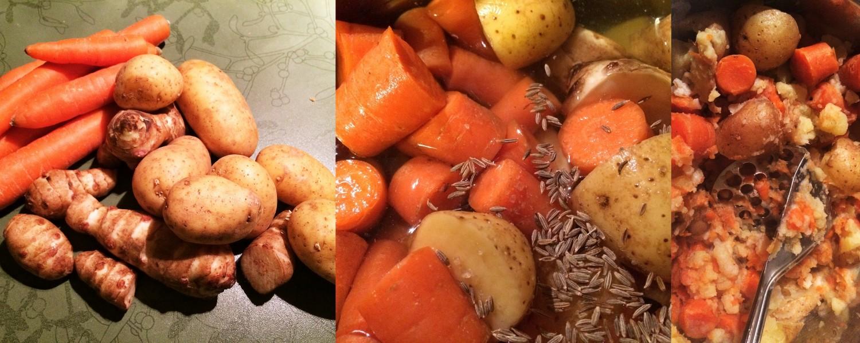 Topinambur-Kartoffel-Karotten-Püree.