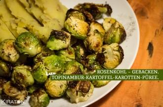 Rosenkohl – gebacken & dazu Topinambur-Kartoffel-Karotten-Püree.