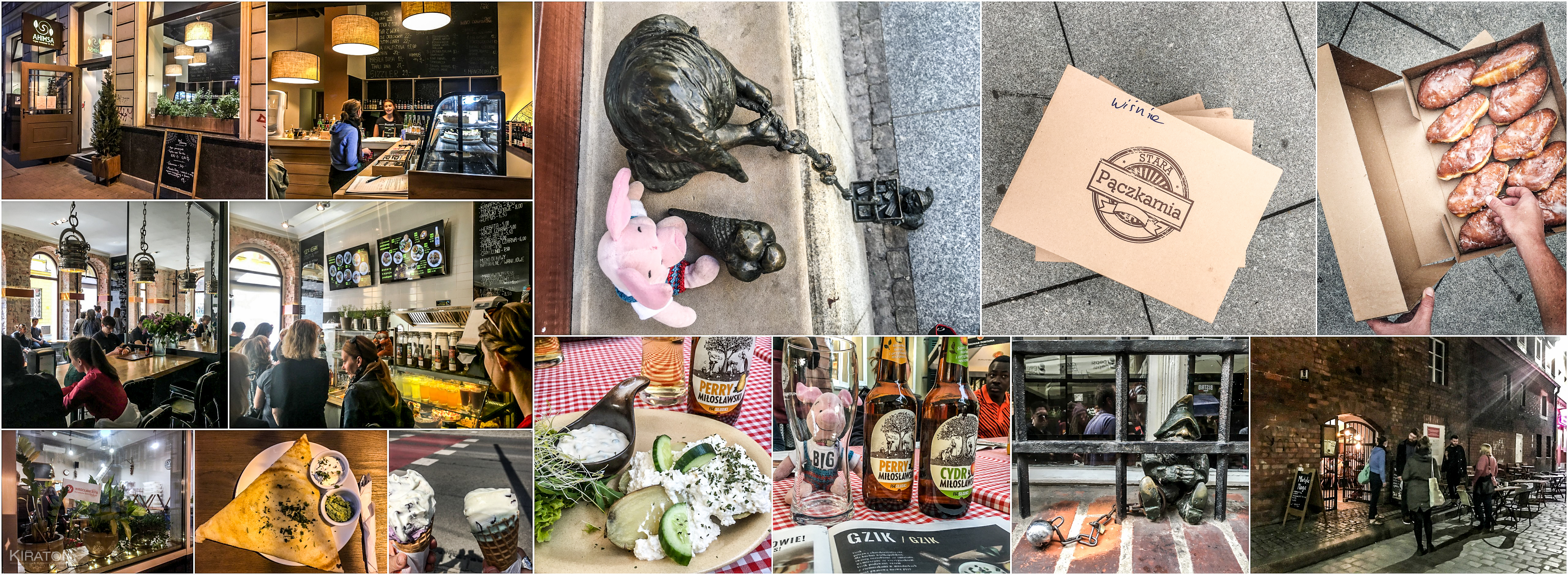 Leckeres Essen in Wroclaw: ganz links oben: das Ahimsa; direkt darunter: VEGA (100% vegan); ganz unten links: Piec Na Szewskiej, daneben das leckere Essen im Ahimsa und Eis; oben Mitte: Ferkel und ein Zwerg beim Eis-Klau; oben rechts: Stara Paczkarnia; unten Mitte: das Cafe Konspira mit schmackhaften Cider zum Essen; ganz links unten: Motyla Noga in den ehemaligen Gefängnismauern und davor der Zwerg hinter Gittern.