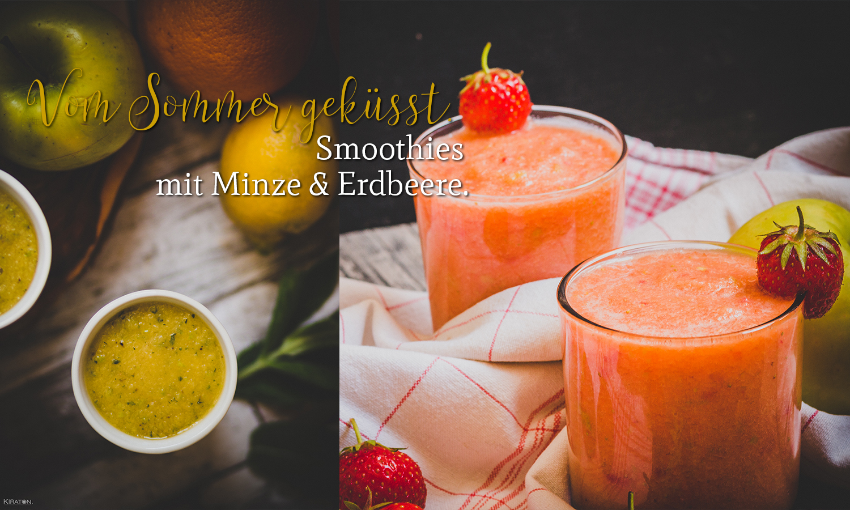 Foto Vom Sommer geküsst. Smoothies mit Minze & Erdbeere.