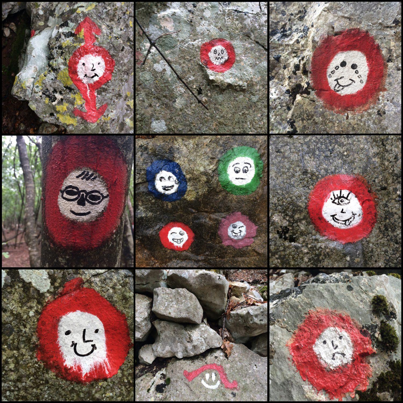 Gesichter – Wegmarkierung auf dem ECO-Rundwanderweg bei Beli, Cres (Koratien)