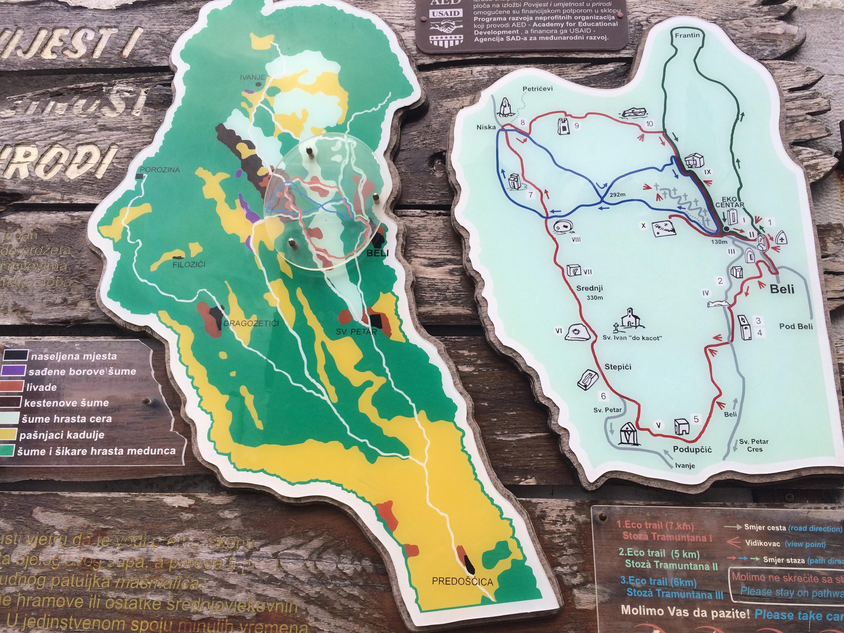 Eko trails (Wanderrouten) rund um Beli auf der Insel Cres, Kroatien.