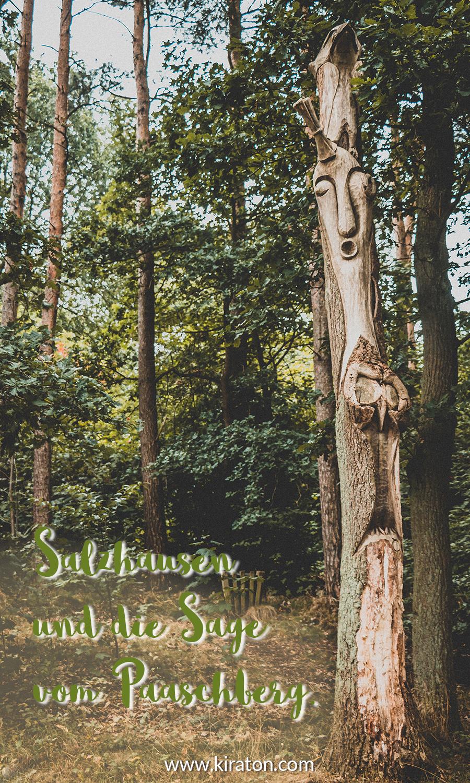 Holzskulptur und der Titel »Salzhausen und die Sage vom Paaschberg.«