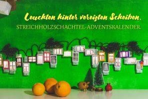 Leuchten hinter vereisten Scheiben. | Streichholzschachtel-Adventskalender.