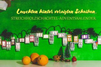 Titelbild: Leuchten hinter vereisten Scheiben. Streichholzschachtel-Adventskalender.