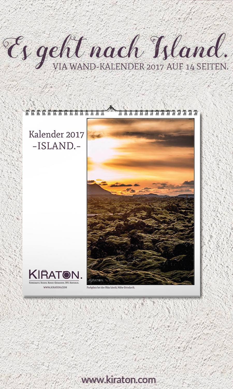 Pinterest: Es geht nach Island – via Wand-Kalender 2017 auf 14 Seiten.