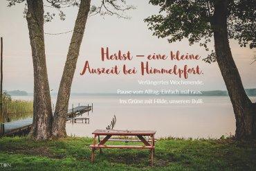 Herbst – eine kleine Auszeit bei Himmelpfort. Verlängertes Wochenende. Pause vom Alltag. Einfach mal raus. Ins Grüne mit Hilde, unserem Bulli.